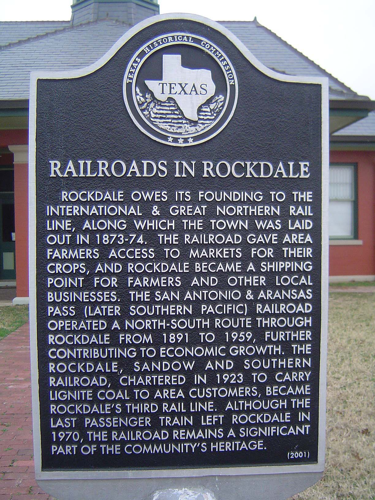 Railroads in Rockdale Historical Marker